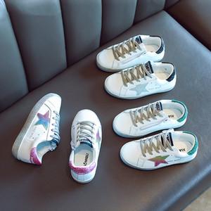 Esportes de meninas Branco Sneakers Geunine couro novas crianças Autumn Fashion Shoes Boys Estrelas Board Calçados