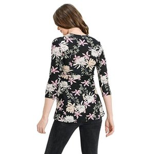Hot Sale Maternity T-shirts V-neck Tops For Pregnant Women Fashion Flower Printed Tees With Belt Maternity Clothing