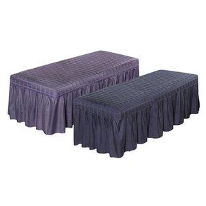 2x Solide Couleur Table de massage Jupe beauté du visage Literie Linge Valance 2 couleurs feuille de couverture
