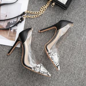 Hot Sale-Sapatos Mulheres Sexy Pointed Toe pele de cobra padrão Shoes única mulher moda sandálias de salto alto Transparente
