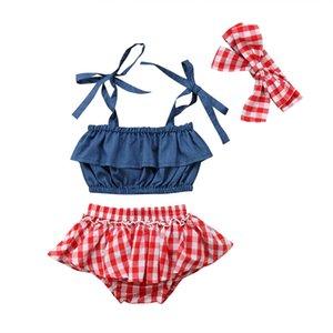 Neugeborenes Kind-Baby Strap Demin Tops karierte Röcke Kleid 3Pcs Outfits Größe 0-3T