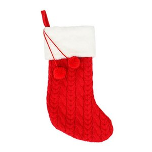 Christmas Stocking Ornaments Knitted Wool Thick Socks Hotel Home Christmas Socks New Year Gifts for Kids Xmas Tree Ornament