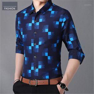 Fashion New Autumn Button Down Long Sleeve Casual Social Shirt Mens Casual Shirts Plus Size Plaid Shirts for Men