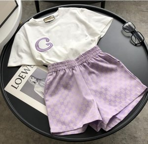 Women's fashion casual short sleeve T-shirt + jacquard fabric Shorts Set 100% Cotton Short Sleeve T-Shirt embroidered letter design women's