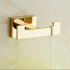 Luxury Gold Robe Hook Bathroom Hangings Hook Double Zinc Alloy Home Bathroom Decoration Accessories Simple Durable Hooks