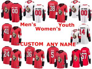 Ottawa Senators Trikots Rudolfs Balcers Jersey Craig Anderson Dylan DeMelo Max Veronneau Rot Weiß Hockey-Trikots Gewohnheit genähtes
