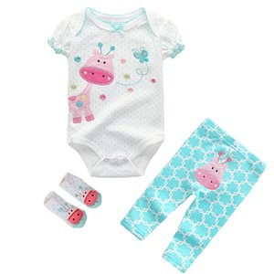 3Pcs lots Baby boy clothes sets 6-12 Month Baby Girl Rompers Super cotton Bodysuits+ Pants +baby Socks newborn Clothing
