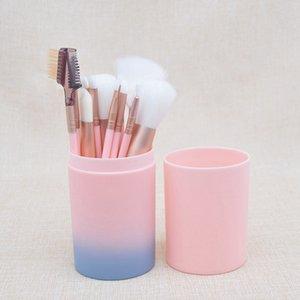12pcs maquillage pinceaux ensemble pour poudre de fondation paupières fard à paupières eyeliner surligneur des lèvres cosmétique brosse outils avec la boîte en plastique RRA1919