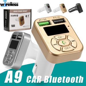 Carregador Mãos adaptador gratuito A9 kit mãos livres Bluetooth sem fio Transmissor FM LCD MP3 Player 3.1A dupla USB