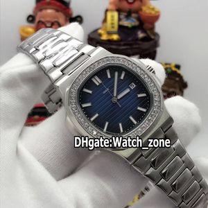 New Nautilus Sport 5711 1A 5713 1G Blue Dial Asian 2813 Automatic Mens Watch SS Steel Band Diamond Bezel Sport Luxury Watches Watch_Zone