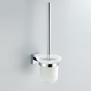 WC kit escova Holded com Latão acabamento de construção de base Chrome e fosco vidro Cup, acessórios de casa de banho
