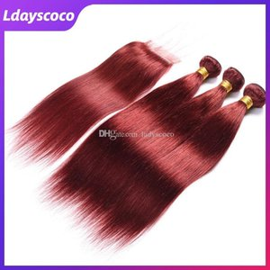 33# Wine Red Hair Weft Weave Hair Human Hair Bundles Remy Straight Brazilian Virgin Bulks with Closures 10-28 Inches Toupee Luxury Combo