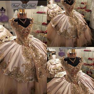 Rosa Beads Quinceanera Vestidos Appliques Ball Vestido Sparkly Doce 16 Anos Princesa Vestidos Para 15 Anos Vestidos de 15 Años 2020