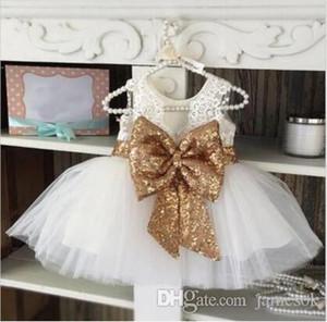 3 Color Chica de encaje paillette camisole niños vestido de la princesa del bebé bowknot Colores del arco iris sin mangas tutu Vestido Falda TO531