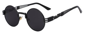 Стимпанк Солнцезащитные очки Мужчины Женщины Металлические WrapEyeglasses Круглые Оттенки Марка Дизайнер Солнцезащитные очки Зеркало Высокого Качества UV400