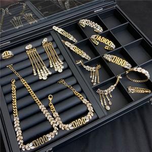 Ретро кристалл кисточкой ожерелье Set Luxury Пшеничный Ювелирные наборы конструктора женщин браслеты ожерелья шарма серьги Коты Set