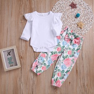 TELOTUNY 2019 cut baby girls 2Pcs Newborn Toodler Infant Baby Girls Solid Romper Floral Print Pants Outfits Set Z0211
