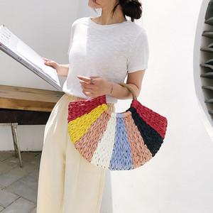 Wristlets Moda Patchwork Avrupa-Amerika tarzı Plajı örgü 2020 yeni kadın çantası Tote çanta