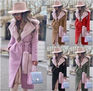 Abrigo largo de lana de cuello con paneles de vestir exteriores delgada Bandge chaqueta de ropa femenina de otoño invierno de las mujeres del medio diseñador Cardigan