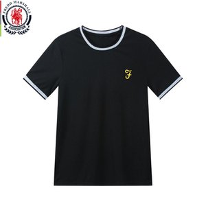 FREDD MARSHALL 2020 New Men's Cotton T-Shirt Short Sleeve Solid Color T Shirt Men Basic Top Embroidery Tee Men O-Neck Tshirt 415