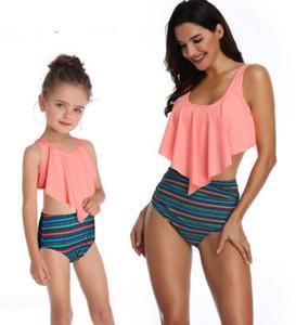 Discount enfants à bas prix de Split maillot de bain imprimé bikini taille haute avec des femmes pour les parents et volants enfants Bikinis mettre trois pièces de vêtements