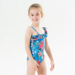 Druck 2020 1-6Y Mädchen-Vogel-Dreieck einteiliger Badeanzug mit Rüschen One-Shoulder-Schwimmen-Badeanzug-Baby-Kind-Kind-Bademode
