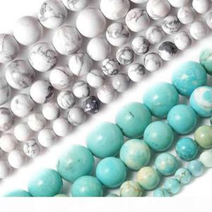 Atacado-atacado 4MM 6MM 8MM 10MM Branco Natural e céu azul Howlite pedra turquesa Beads Para Colar Pulseira DIY Jóias