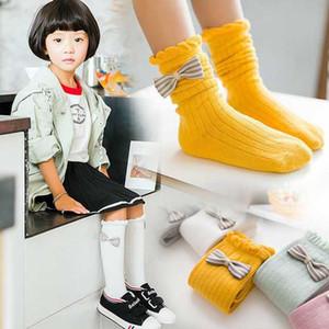 Pamuk Çocuk Çorap Prenses Pamuk Kız Çorap Kelebek Knot Yığılmış Çorap Saf Renk Uzun Çorap Şerit 4