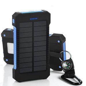 Caricabatteria con scatola al minuto per iPhone Samsung cellpPhone 20000mAh Banca di energia solare 2 USB Backup Porta caricatore esterno