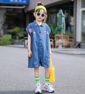 Big kids cartoon letter Applique jumpsuits fashion new old girls lapel denim Blue Cargo shorts children cotton Soft casual jumpsuit A2560