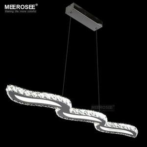 Hot Selling Modern K9 Pendant Light Crystal Wavy LED pendant Lustre Modern LED Chandelier light Hanging Lamp Fixture for Restaurant Hall