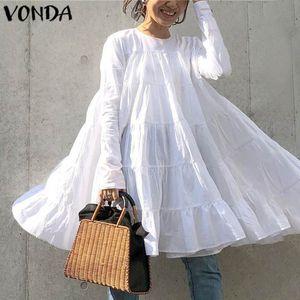 Abito VONDA donne Vintage O collo manica lunga Boemia Vestitino 2020 Summer Beach Sundress allentati casuali Abiti Plus Size
