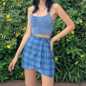 DIWEINI fashion casual plaid female mini wrap skirt high waist slim wild blue bodycon skirt summer 2020 new office lady skirt