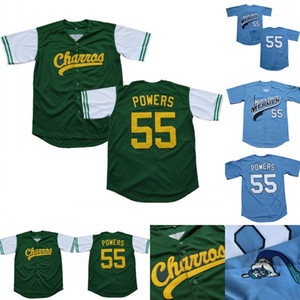 Mens Kenny Powers # 55 EastBound 및 Down 멕시코 charros 케니 파워 100 % 스티치 영화 야구 저지 녹색 파란색 빠른 배송