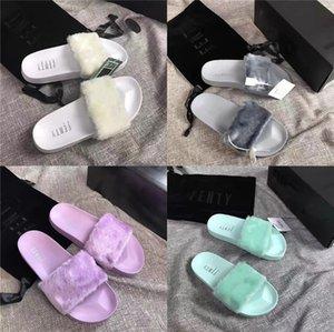 Factory Wholesale Custom Indoor Raccoon Slide Slide Sandals Fashion Ladies Real Fox Fur Slippers#645