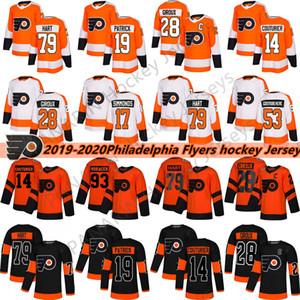 2019 Flyers de Philadelphie Hockey 28 Claude Giroux 17 Wayne Simmonds 53 Gostisbehere 93 Voracek 11 Konecny 9 Provorov Hockey sur glace Jersey