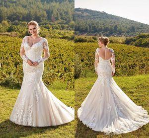 Elegante leichte Champagner Elegante Plus Größe Brautkleider 2019 V-ausschnitt Sheer Lange Ärmel Spitze Meerjungfrau Hochzeit Brautkleider Illusion zurück