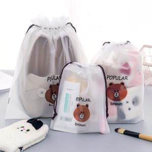 Transparente lindo estuche de maquillaje cosmético del recorrido del bolso Claro mujeres del oso del lazo de PVC Travel bolsas de cosméticos