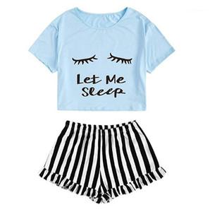 Печатается с коротким рукавом Традиционные Pajama наборы Женская одежда 2 Piece Set Summer женщин Дизайнер Sleepwear Suits письмо