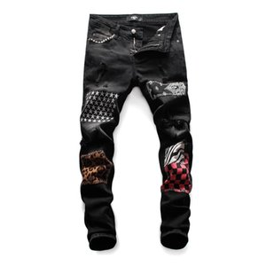Amir i Jeans Mens Luxury Designer Jeans Brand Baggy Biker High Waisted Ripped Rock Revival Black Skinny Men Jeans Pants Trousers A14