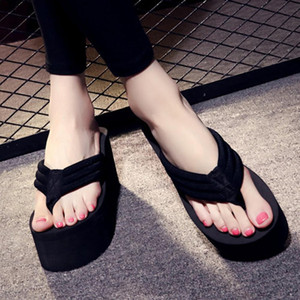 2020 New Woman Chunky Sole Wedges Heels Flip Flops Women Slippers Summer Tongs Sandale Wedge Beach Sandals Flip Flop Women Shoes