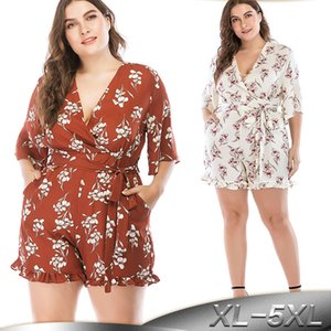 Plus Size 5XL Shorts Women Rompers Moda Mujer 2019 Summer Playsuits Jumpsuit Overalls Jumpsuits For Women Clothing T200704
