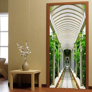 3D Door Sticker Modern Creative Long Corridor Mural Wallpaper Living Room Study Self-Adhesive Waterproof Wall Stickers 3 D Decal