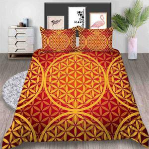 Juego de cama estampado con estampado King Luxury Retro Kaleidoscope 3D Funda nórdica Queen Home Deco Funda de cama individual doble con funda de almohada