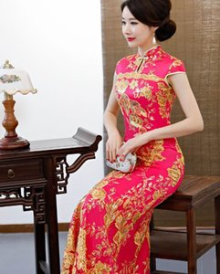 red gold green blue catwalk   fishtail cheongsam   costume etiquette performance welcome long cut ribbon dress @@58