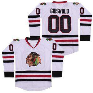 # 00 Clark Griswold Jersey National Lampoon Chicago Blackhawks Vintage Natal Ice Hockey Jerseys costuras duplas Nome Número EM ESTOQUE