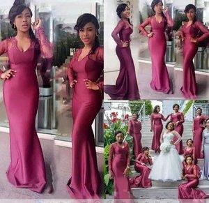Плюс размер Южноафриканские выпускного вечера Mermaid Dreses кружева с длинными рукавами Длинные Формальное вечернее Формальное партия платья