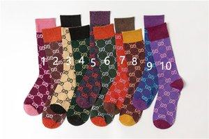 Mens Frauenentwerfer Socken Hart treffen Herbst neue Süßigkeit Farbe Brief Haufen Haufen weibliche Socken Modetrend Mehrfarben wilde Baumwolle 1