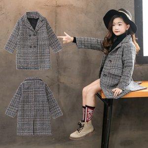 2019 nueva moda abrigo de lana de pata de gallo para niñas Adolescentes chaqueta de otoño cálido abrigo largo Niños a prueba de viento