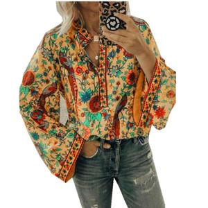 Femmes élégantes Boho Lantern T-shirt manches longues en vrac V Floral Shirts Hauts dames Hippie Tunique Chemise d'automne Hauts Casual